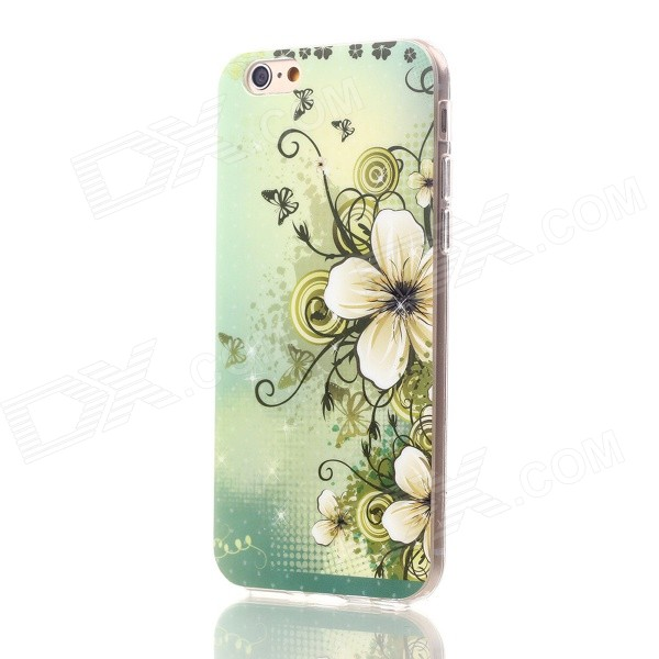 Floral & Plants Pattern Protective TPU Back Case for IPHONE 6 4.7 - Green + White + Multicolor holes pattern protective tpu back case for iphone 6 plus 5 5 yellow