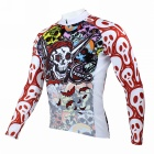 Men's Skull Pattern Long-sleeve Polyester Cycling Jersey - White + Red (XXL)