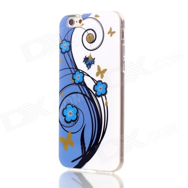 Floral & Plants Pattern Protective TPU Back Case Cover for IPHONE 6 4.7 - White + Blue + Multicolor transparent tpu material spindrift pattern and diamond design protective back cover case for iphone 6 plus 5 5 inches