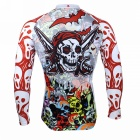 Men's Skull Pattern Long-sleeve Polyester Cycling Jersey - White + Red (XXXL)