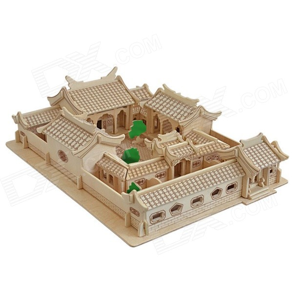 3D Beijing Courtyard Style Wooden Jigsaw Puzzle Assembling Toy for Kids - Beige