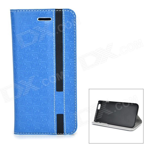 Protective PU + PC Flip-Open Case w/ Card Slots for IPHONE 6 4.7 - Blue + Black high quality leather wallet style flip open case w card slots for iphone 6 plus brown