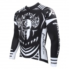 Men's Print Long-sleeve Zipper Cycling Jersey - White + Black (XXXL)