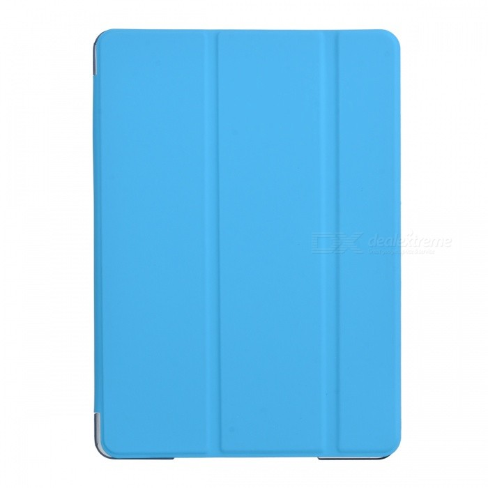 Protective 3-Fold PU + Plastic Smart Case w/ Stand for IPAD AIR 2 - Blue