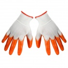 Multi-functional Breathable Anti-skid PVC Safety Protection Gloves - Orange + White (Pair)