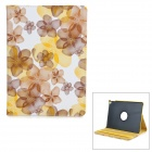 Flowers Pattern Rotary Protective PU Leather Flip Open Case w/ Stand / Auto Sleep for IPAD AIR 2