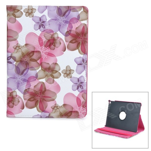 Flowers Pattern Rotary Protective PU Leather Flip Open Case w/ Stand / Auto Sleep for IPAD AIR 2 oracle bones pattern protective pu tpu flip open case w stand auto sleep for ipad air red