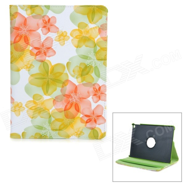 Flowers Pattern Rotary Protective PU Leather Flip Open Case w/ Stand / Auto Sleep for IPAD AIR 2 high quality excavator seal kit for komatsu pc200 5 arm cylinder repair seal kit 707 99 57200