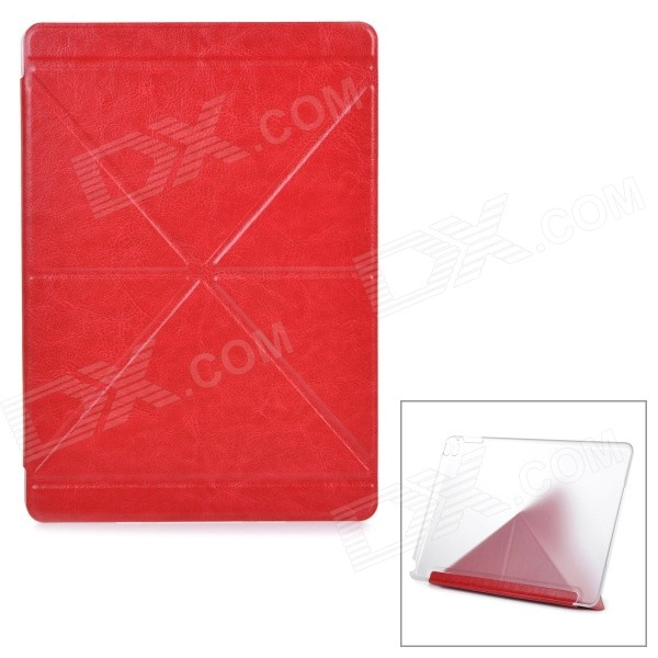 Protective PU Case w/ Transparent Plastic Back for IPAD AIR 2 - Red protective pu leather case w transparent plastic back for ipad air 2 black
