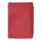 Protective PU Case w/ Transparent Plastic Back for IPAD AIR 2 - Red + Transparent