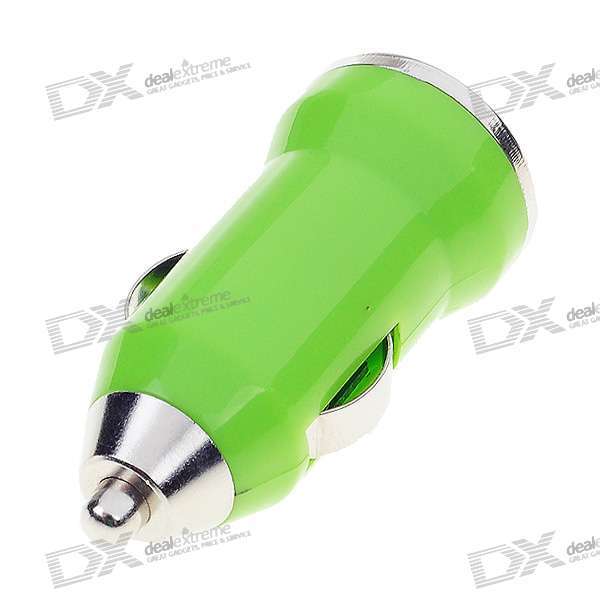 Car Cigarette Powered USB Adapter/Charger - Green (DC 12V/24V)