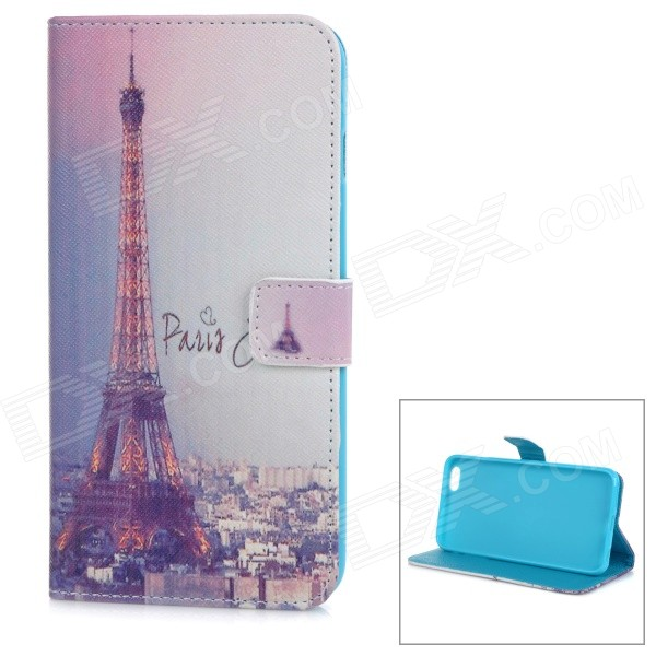 Eiffel Tower Pattern Protective Flip-Open PU Case Cover w/ Stand / Card Slot for IPHONE 6 PLUS protective flip open pu case cover w card slot stand strap for iphone 6 plus white black