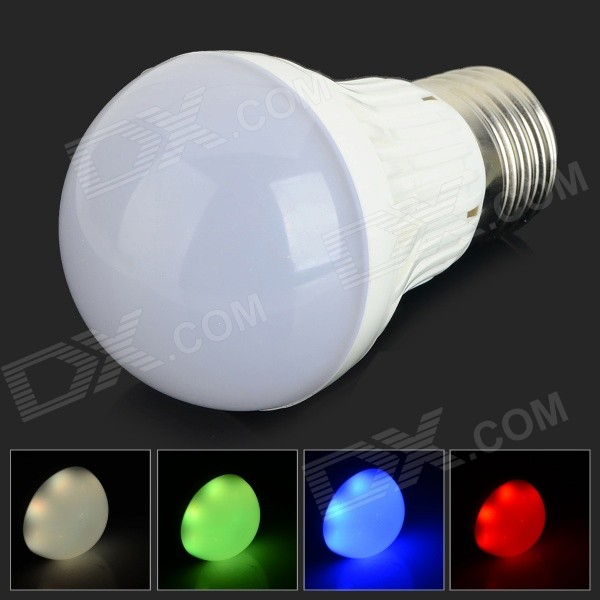 JRLED E27 3W 160lm 6-SMD 5050 LED RGB Light Bulb - White + Silver (AC 220V)