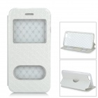 Stylish Grain Protective Flip-Open PU Case w/ Dual View Window & Stand for IPHONE 6 - White