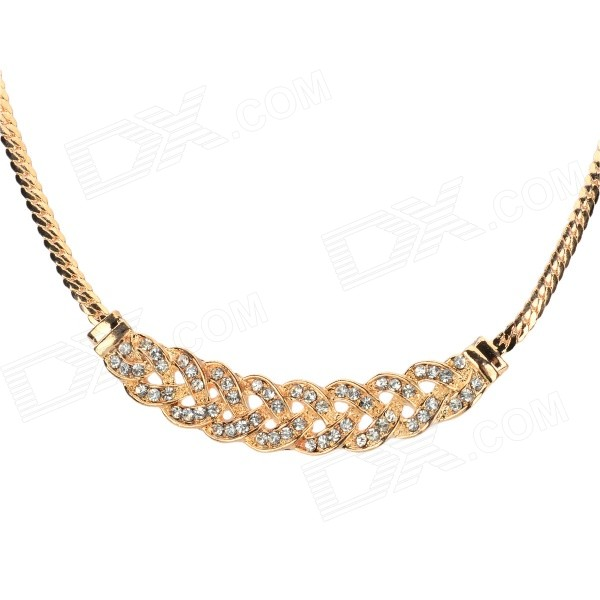 Women's Fashionable Rhinestone Inlaid Zinc Alloy Necklace - Golden