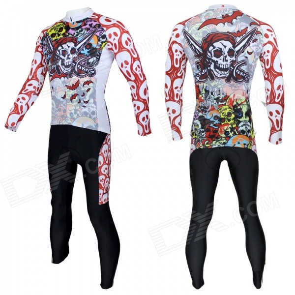Colorful Scull Pattern Long-sleeve Cycling Jersey + Pants Set for Men - White + Red (L)