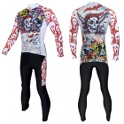 Colorful Skull Pattern Long-sleeve Cycling Jersey + Pants Set for Men - White + Red (L)