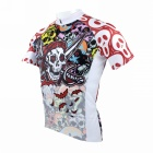 Men's Skull Patterned Short-sleeved Dacron Cycling Jersey - White + Red (L)
