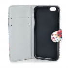 Protective Patterned Flip-Open PU Case Cover w/ Stand / Card Slot for IPHONE 6 - Black + Multicolor