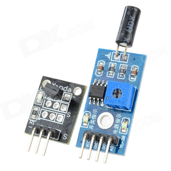 DS18B20 Temperature Sensor Module + Tilt Sensor Module - Black + Dark Green (DC 3~5V) smoke sensor module w relay output green black