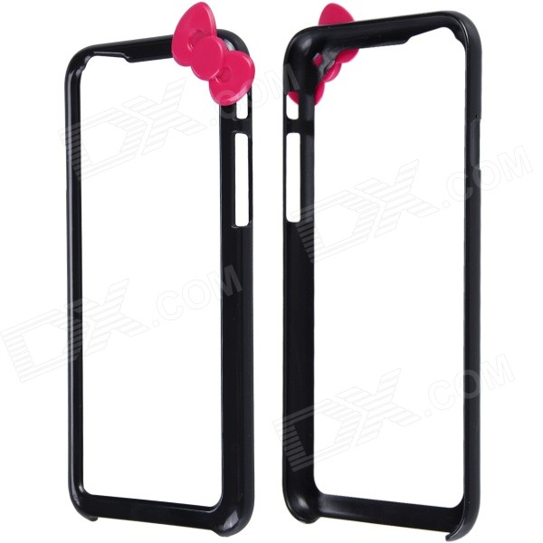 Fashionable Protective PC Bumper Frame w/ Bow for IPHONE 6 4.7 - Black + Deep Pink fashionable protective pc bumper frame case w bow for samsung galaxy s5 i9600 black deep pink