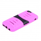 2-in-1 Protective Silicone + PC Back Case w/ Holder for IPHONE 6 - Deep Pink + Black