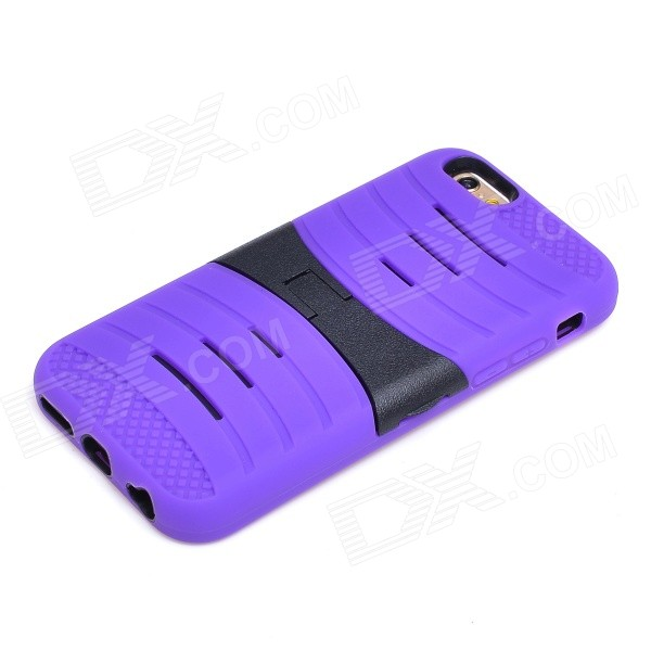 2-in-1 Protective Silicone + PC Back Case w/ Holder for IPHONE 6 - Purple + Black new compatible lamp with housing lmp h160 bulbs for sony projector vpl aw10 vpl aw15 180days warranty