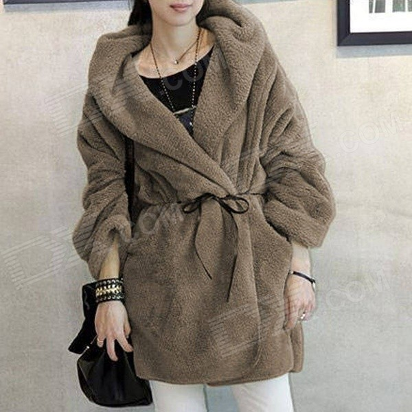 Casual Loose Hooded Warm Thickened Plush Coat - Coffee