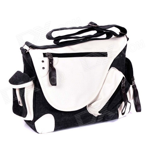 Man's Casual Canvas Shoulder Bag Messenger Bag - Black + White