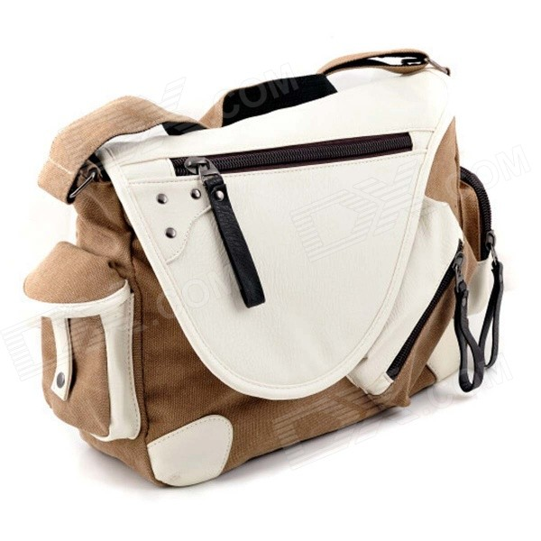Man's Casual Canvas Shoulder Bag Messenger Bag - Coffee + White