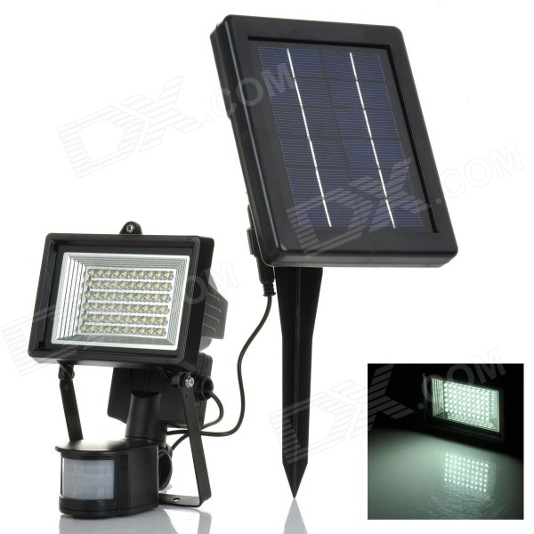 YJ-2337 3W 350lm 6500K 60-LED White Light Control + Motion Sensor Solar Spotlight - Black + Blue