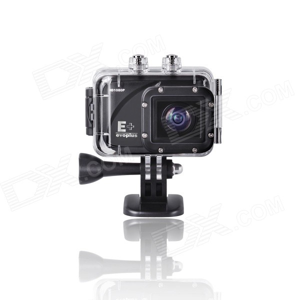 Evoplus Mirage Waterproof 1080P 1.5 LCD 2/3 CMOS 12MP Wide-Angle Anti-Shake Sports Camera - Black evoplus mirage waterproof 1080p 1 5 lcd 2 3 cmos 12mp wide angle anti shake sports camera black