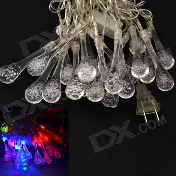 JIAWEN 20-LED RGB Droplet String Light for Holiday Lighting / Christmas Decoration (AC110~220V, 4m)