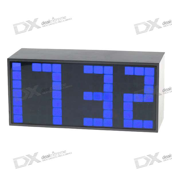 Digital Desk LED Calendar Alarm Clock with Temperature Display - Blue Light (AC/4*AA Powered)