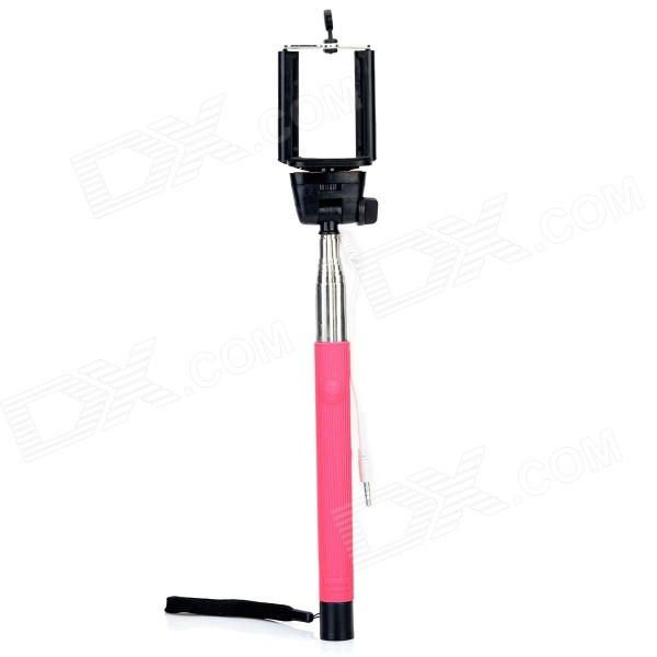 Universal Selfie Retractable Monopod w/ 3.5mm Plug + Adjustable Holder - Pink + Black kitavt75417unv10200 value kit advantus id badge holder chain avt75417 and universal small binder clips unv10200