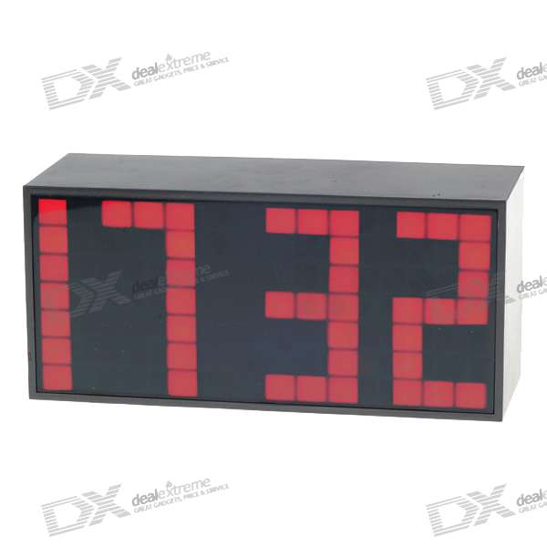 Digital Desk LED Calendar Alarm Clock with Temperature Display - Red Light (AC/4*AA Powered) blue led backlit digital clock with calendar temperature alarm 4 aa