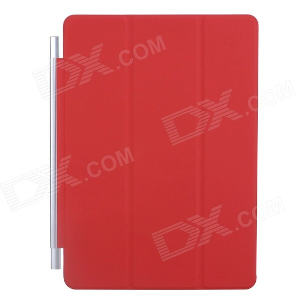 Ultra-thin Protective PU + Plastic Cover w/ Auto Sleep Function for IPAD AIR - Red stylish ultra thin protective pu leather case cover stand w auto sleep for ipad air red