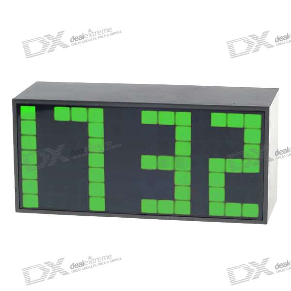 Digital Desk LED Calendar Alarm Clock with Temperature Display - Green Light (AC/4*AA Powered)