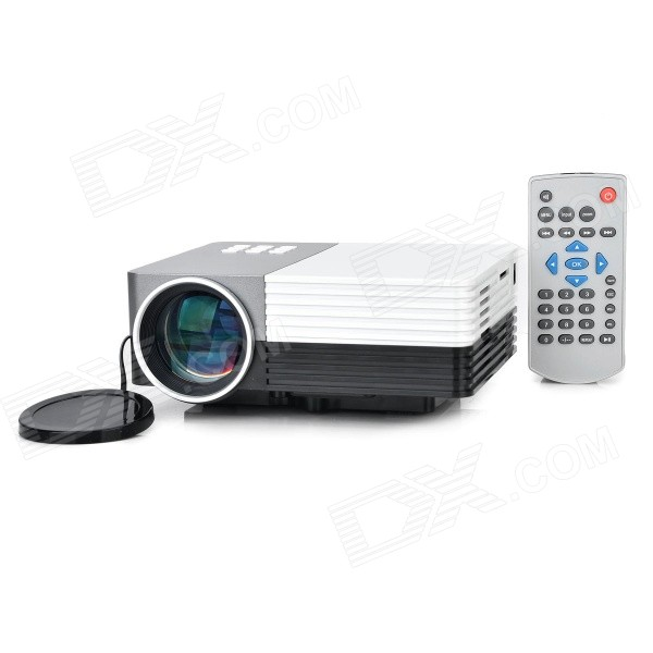 GM50 1080p HD Home Theater LED Projector w/ SD / HDMI / VGA / AV / USB - White + Silver Grey