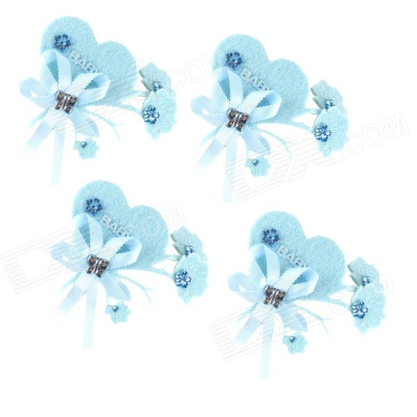 CJ-024 Heart Style Decorative Cake Toppers Set - Sky Blue (4 PCS)