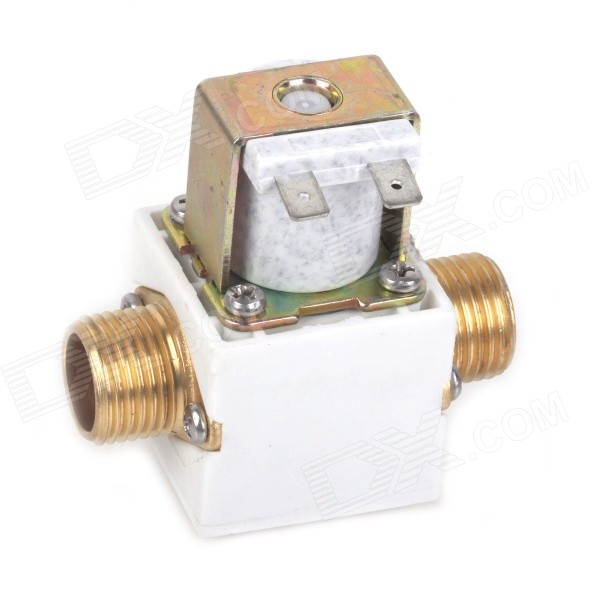 ZnDiy-BRY 12V DC G1/2 N/C Brass Solenoid Valve for Solar Water Heater - White + Yellow smc type pneumatic solenoid valve sy5120 4g c4