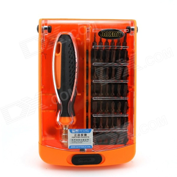 JAKEMY JM-8108 37-in-1 Precision Repairing Screwdriver Set Tools - Black + Orange + Plating Red jakemy jm 8127 multipurpose screwdriver set 53in1 interchangeable precision screwdriver portable electronic repair hardware tool