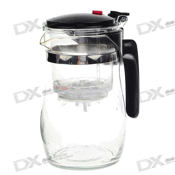 Easy Push Button Strainer Glass Tea Pot With Lock (750ml)