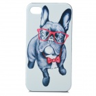 Dog Wearing Glasses Pattern Protetcive PC Back Case for IPHONE 4 / 4S - White + Black + Red