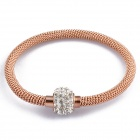 Women's Fashion Stainless Steel Chain Twine Rhinestone Inlaid Bracelet - Rose Golden