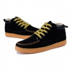 NT00024-5 Men's Casual Warm Nubuck + Cotton Sneaker Shoes - Black (44, Pair)