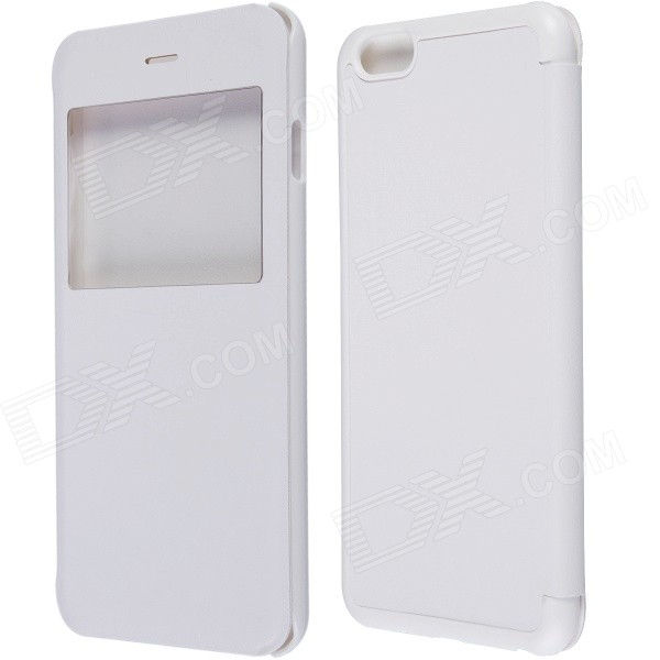 Protective Flip-open PU Leather Case w/ Visual Window for IPHONE 6 PLUS - White remax protective flip open pu leather case w visual window for iphone 4 4s white