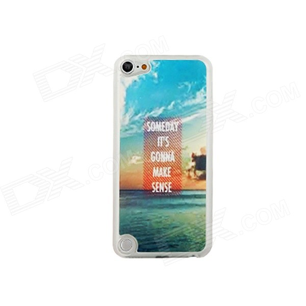 Ultra-thin Sea Pattern Protective PC Back Case for IPOD TOUCH 5 - White + Blue