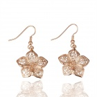 Shining Flower Style Gold Plated Zinc Alloy Earrings for Women - Rose Golden (Pair)
