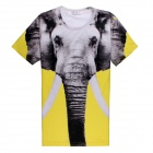 Men's Elephant 3D Printing Short Sleeves Cotton T-shirt - Yellow + Multi-Color (Size XXL)